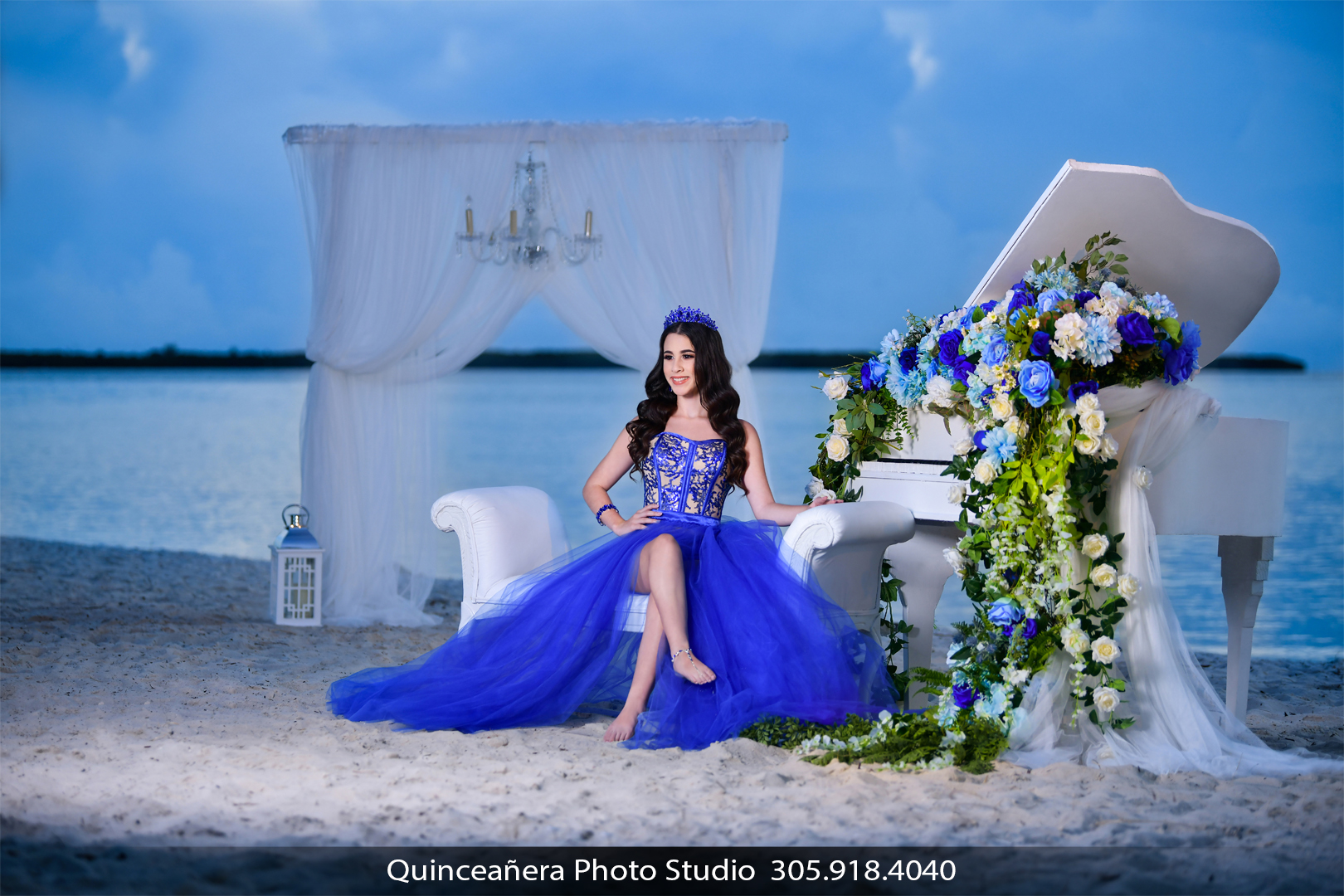 Beautiful quinceañera on the beach. Photo by Quinceanera Photo Studio 305.918.4040