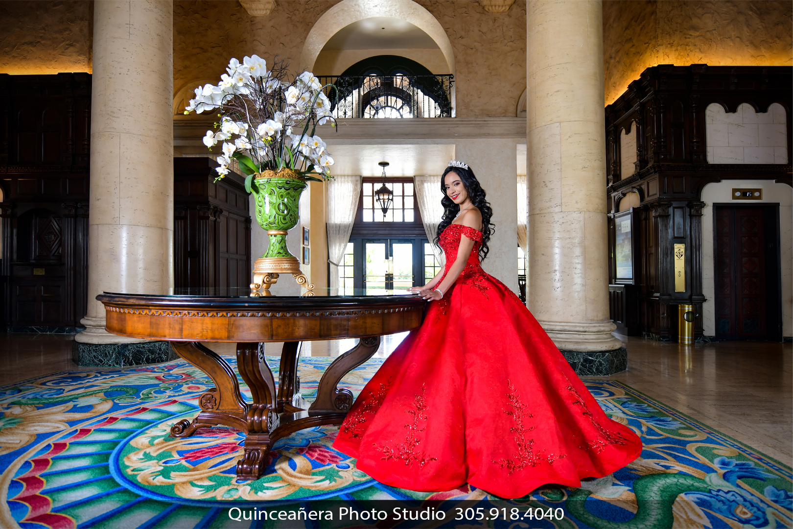 Quinceañera at the Biltmore Hotel in a red dress, Photo by Quinceanera photo studio (305) 918-4040