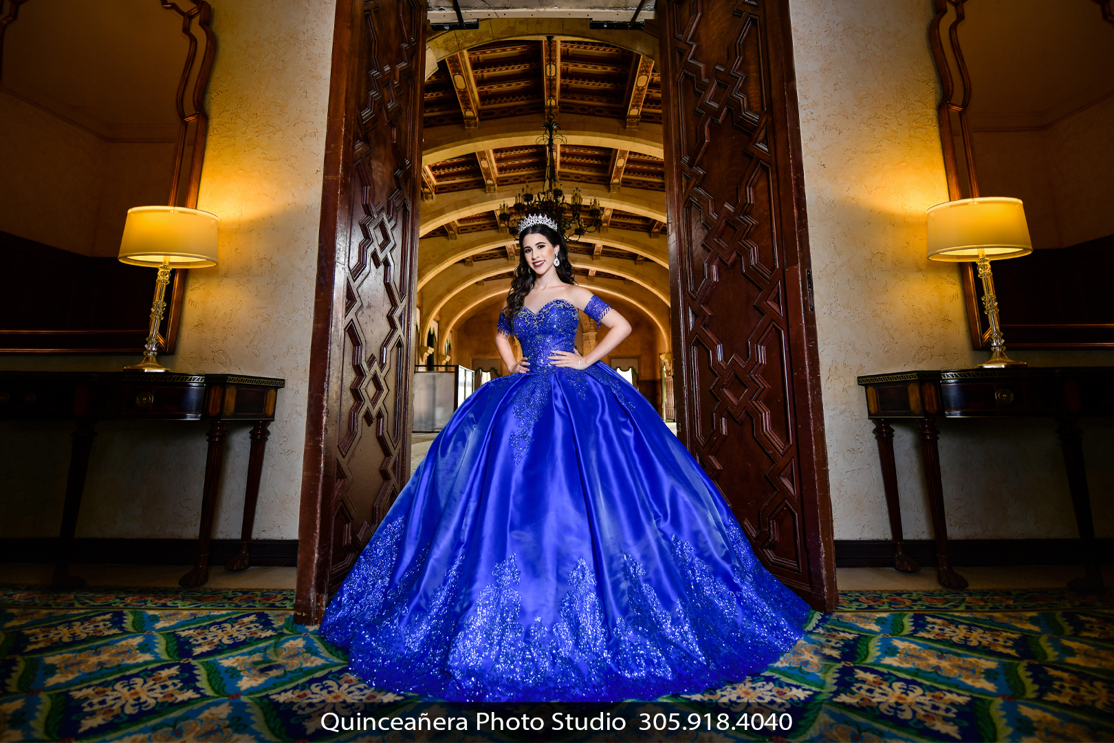 Quinceanera in blue dress at The Biltmore Hotel, Photo by Quinceanera photo studio (304) 918-4040