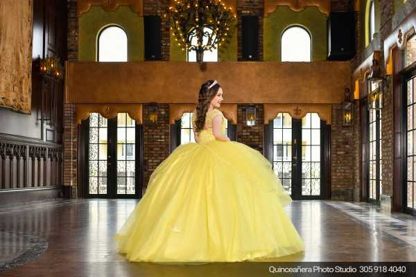 Quinceañera in The Cruz Building with beauty and the beast dress, Photo by Quinceanera photo studio (304) 918-4040